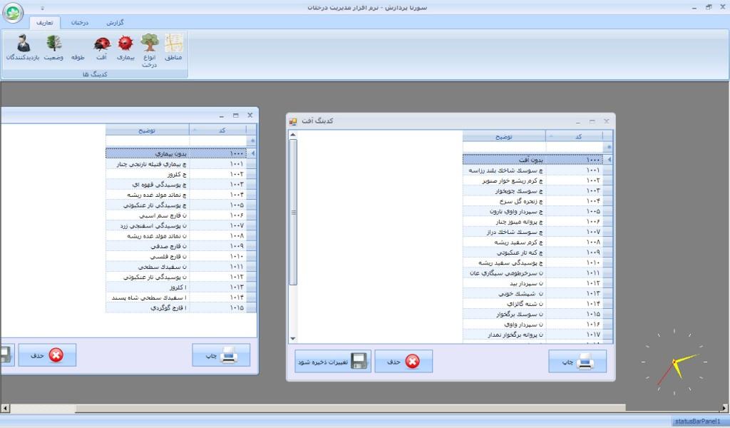 نرم افزار مدیریت درختان - سورنا پردازش آریا - تعیین و کد بندی بخش های مختلف اطلاعات
