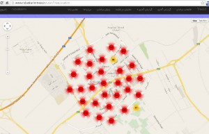 نمایش پراکندگی درختان بر روی گوگل مپ